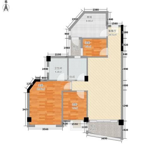 嘉多利山花园别墅3室1厅2卫1厨103.00㎡户型图