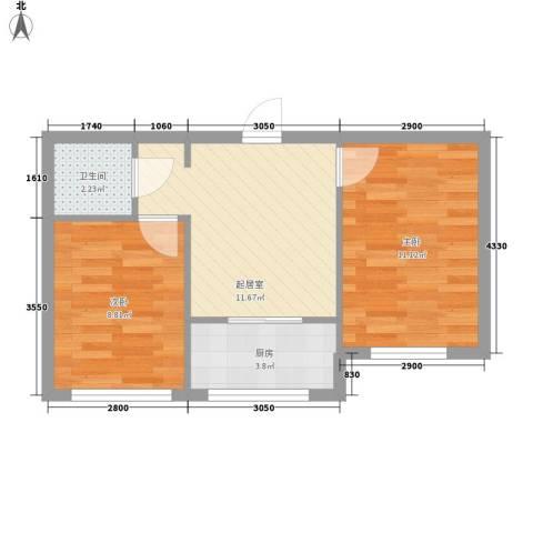 三川城2室0厅1卫1厨53.00㎡户型图