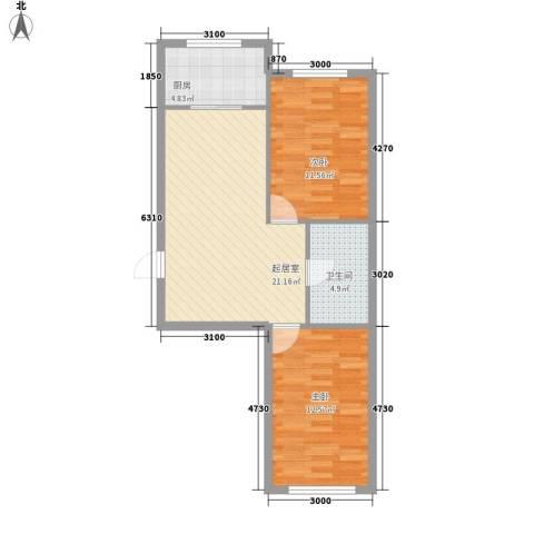 三川城2室0厅1卫1厨73.00㎡户型图