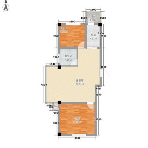 瑞阳广场2室1厅1卫1厨93.00㎡户型图
