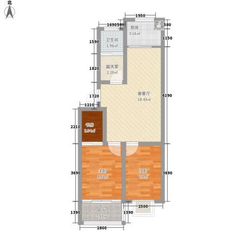 仁和佳苑3室1厅1卫1厨72.00㎡户型图