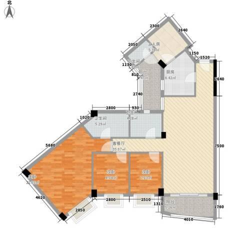 嘉多利山花园别墅3室1厅3卫1厨137.00㎡户型图