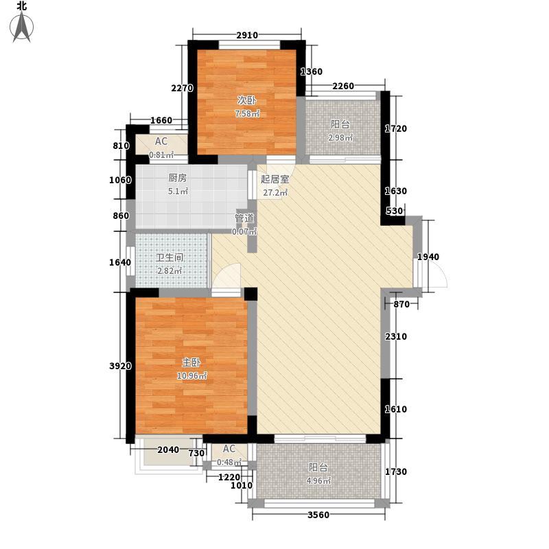 驸马山庄三期玺湖别墅2.50㎡三期湖景小高层B户型2室2厅1卫1厨