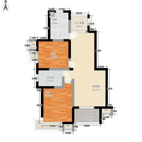 香城花园别墅2室0厅1卫1厨98.00㎡户型图