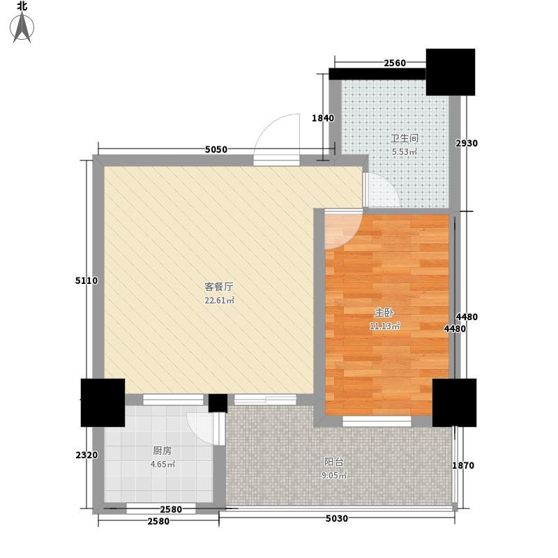 银垠大厦76.68㎡C户型1室1厅1卫1厨
