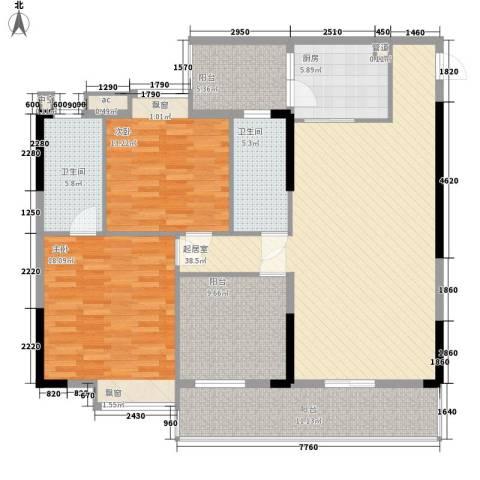 ��荟2室0厅2卫1厨113.66㎡户型图