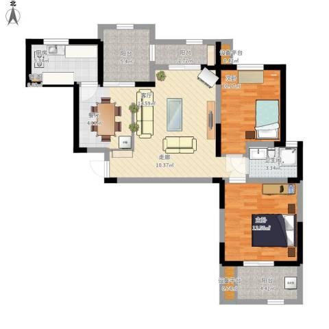 桃苑红杉郡2室1厅1卫1厨108.00㎡户型图