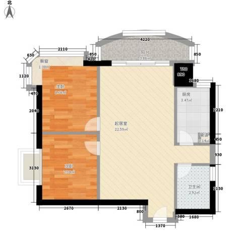 晓港湾2室0厅1卫1厨70.00㎡户型图