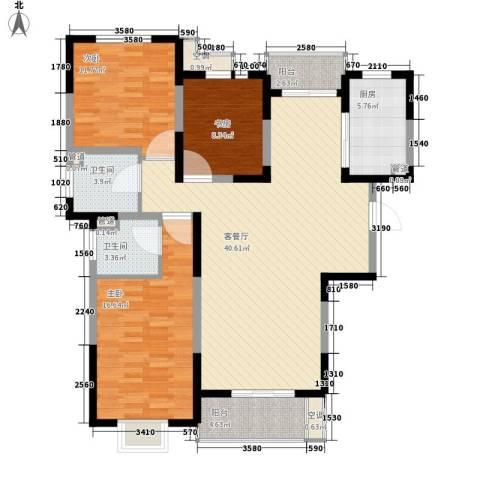 地安汉城国际3室1厅2卫1厨143.00㎡户型图