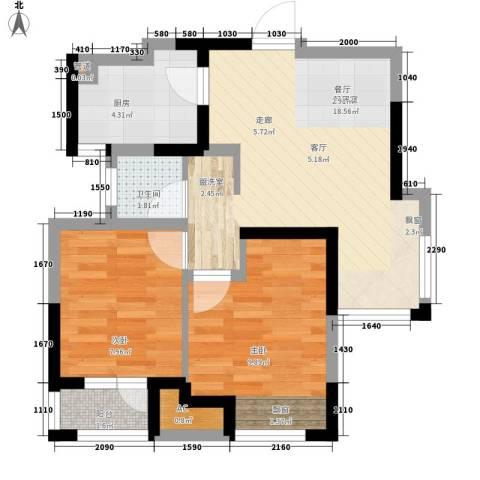 荣盛楠湖郦舍2室0厅1卫1厨67.00㎡户型图