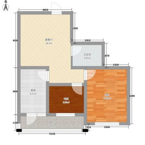 明城花园2室1厅1卫1厨77.00㎡户型图