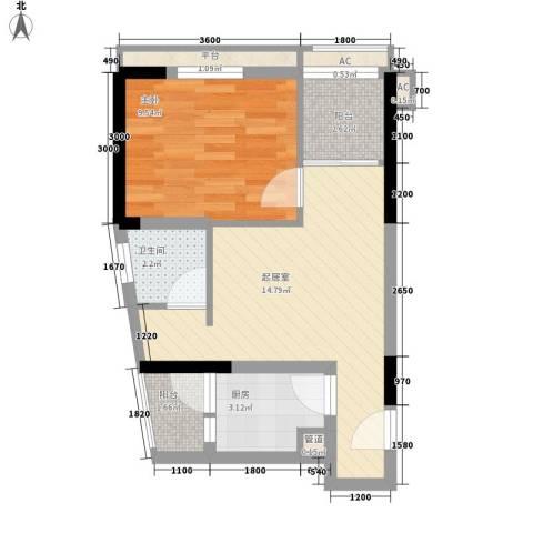 紫薇西城映画1室0厅1卫1厨38.00㎡户型图