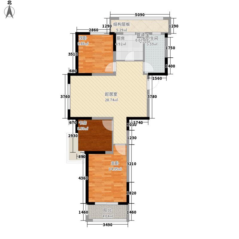 山河城伴山银河115.00㎡2期高层户型3室2厅