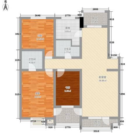 明城花园3室0厅2卫1厨145.00㎡户型图