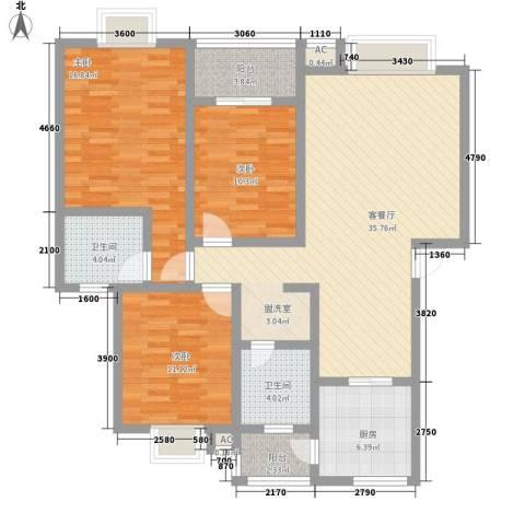 丹桂苑3室1厅2卫1厨95.23㎡户型图