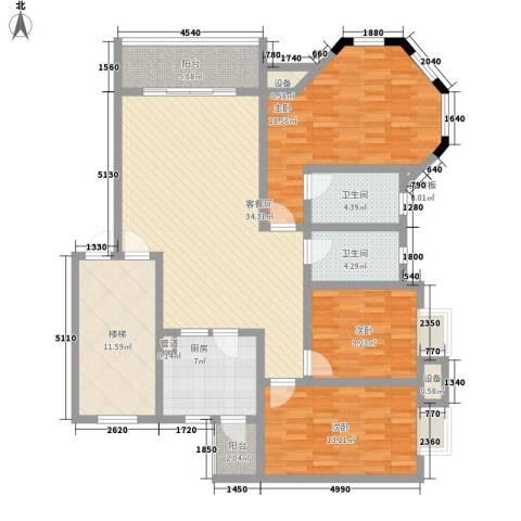 明诚景怡苑3室1厅2卫1厨162.00㎡户型图
