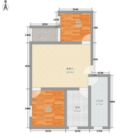 富景花园三期2室1厅1卫1厨76.00㎡户型图