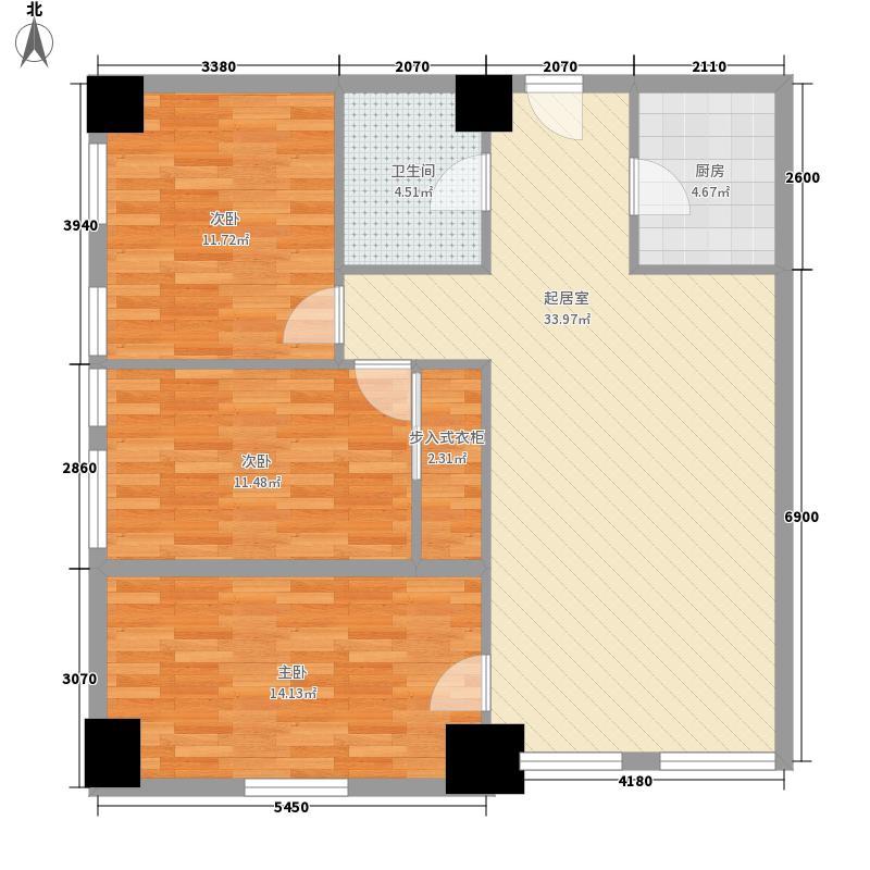 百度空间117.00㎡铂镀户型3室2厅1卫1厨