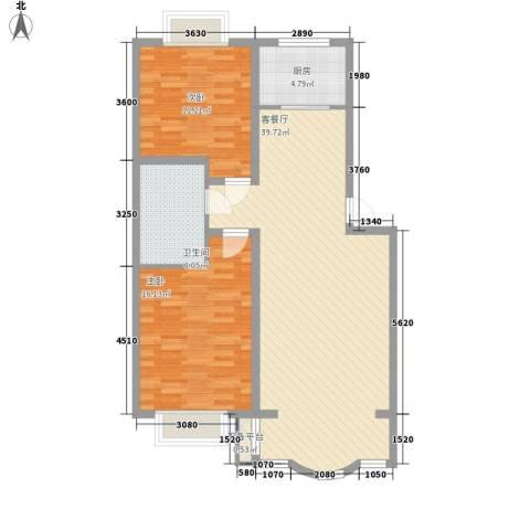 正大明泉花园2室1厅1卫1厨103.00㎡户型图