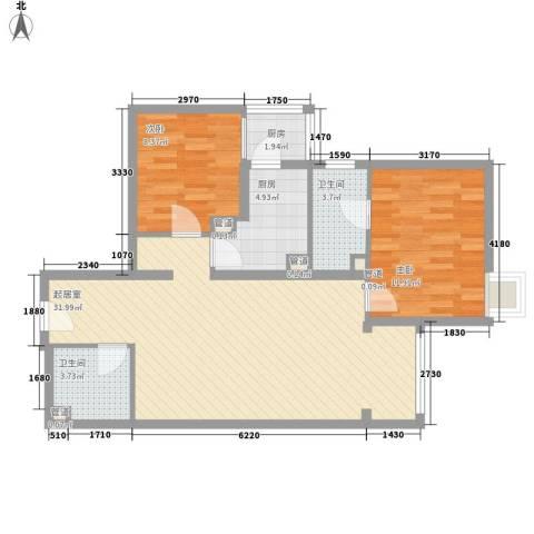 北苑家园锦城2室0厅2卫2厨97.00㎡户型图