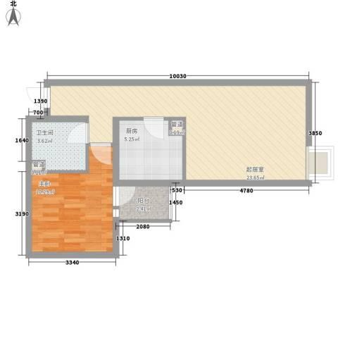 北苑家园锦城1室0厅1卫1厨66.00㎡户型图