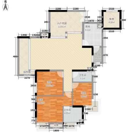 明诚景怡苑3室1厅2卫1厨118.00㎡户型图