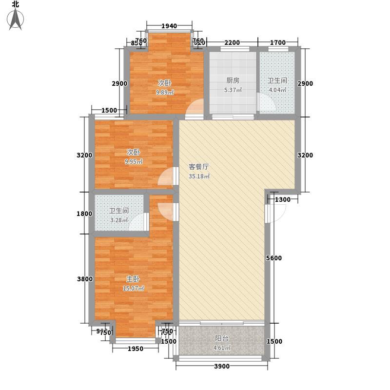 学府雅苑・金湘御16.36㎡6号栋标准层户型3室2厅2卫1厨