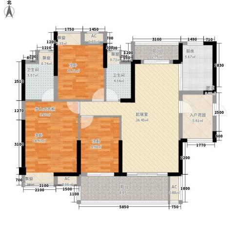 保利林语3室0厅2卫1厨120.00㎡户型图