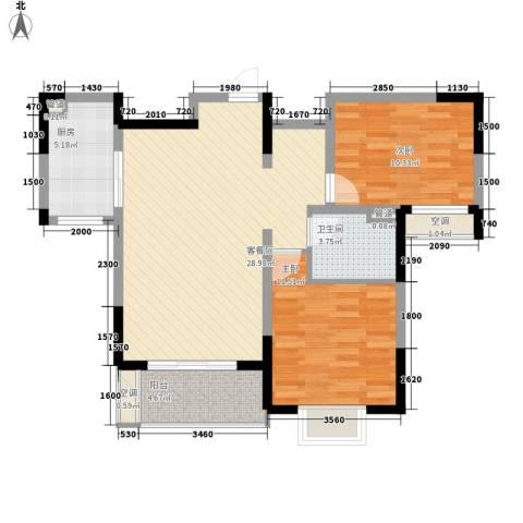 地安汉城国际2室1厅1卫1厨89.00㎡户型图