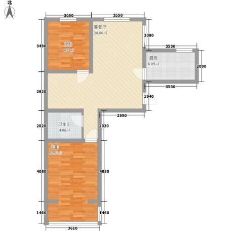兰亭文苑2室1厅1卫1厨94.00㎡户型图