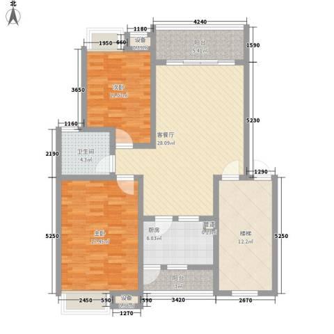明诚景怡苑2室1厅1卫1厨129.00㎡户型图