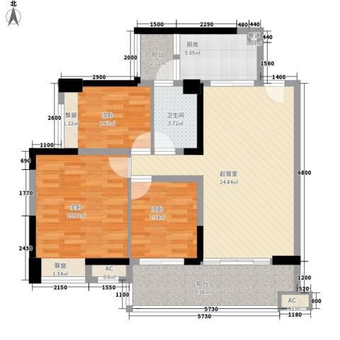 保利林语3室0厅1卫1厨96.00㎡户型图