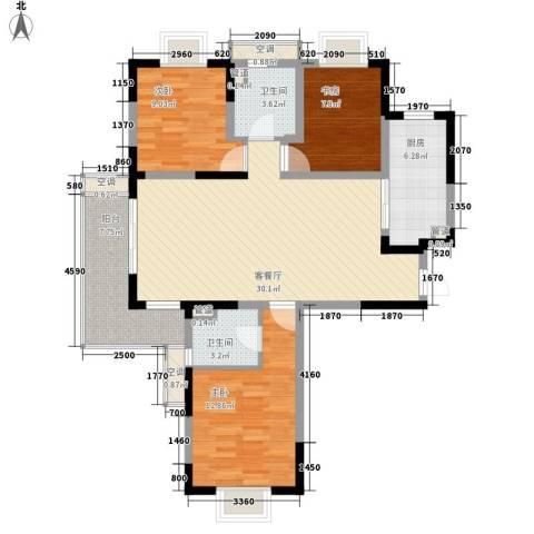 地安汉城国际3室1厅2卫1厨121.00㎡户型图