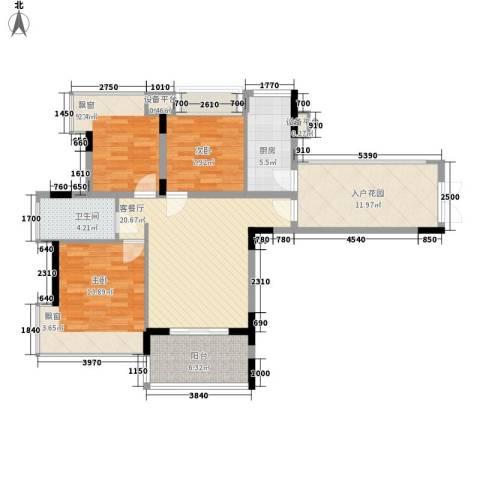 御花苑海蓝湾3室1厅1卫1厨88.00㎡户型图