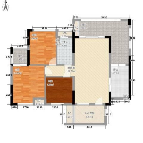 保利国际花园别墅3室0厅1卫1厨95.09㎡户型图