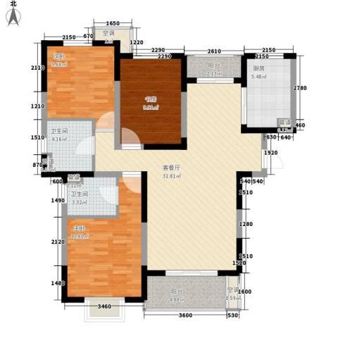 地安汉城国际3室1厅2卫1厨125.00㎡户型图
