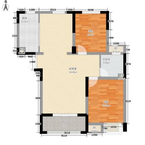 观澜盛世2室0厅1卫1厨72.92㎡户型图