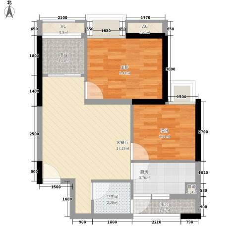 紫薇西城映画2室1厅1卫1厨46.64㎡户型图