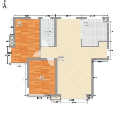 长新花园2室1厅1卫1厨88.36㎡户型图