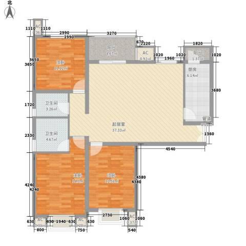 汇雅风尚3室0厅2卫1厨129.00㎡户型图