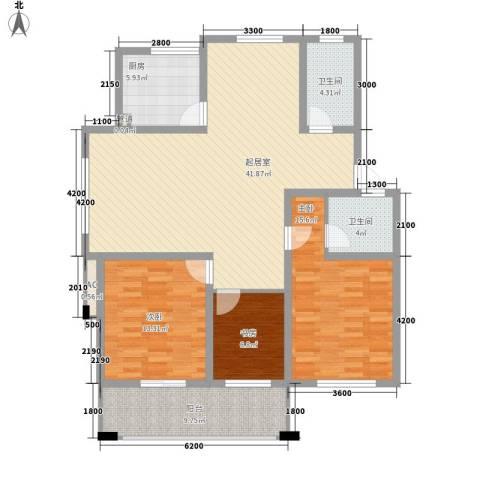 金色港湾3室0厅2卫1厨121.00㎡户型图