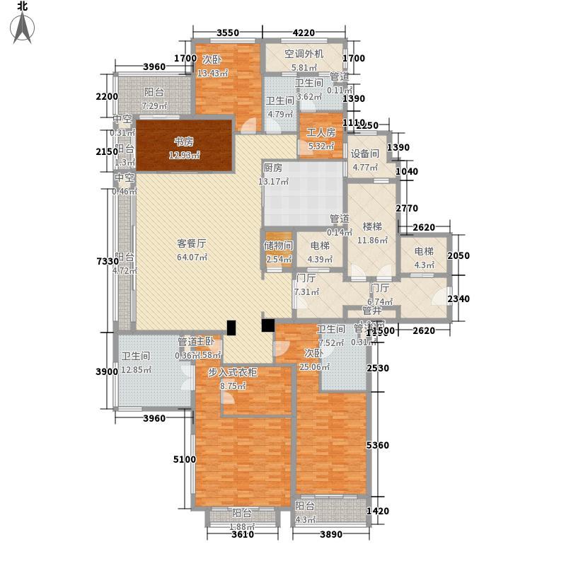 绿城西溪诚园269.00㎡一期L户型5室2厅