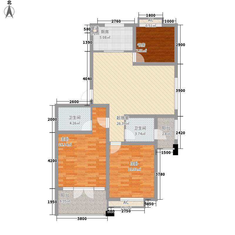 金色港湾102.01㎡B1户型3室2厅2卫1厨