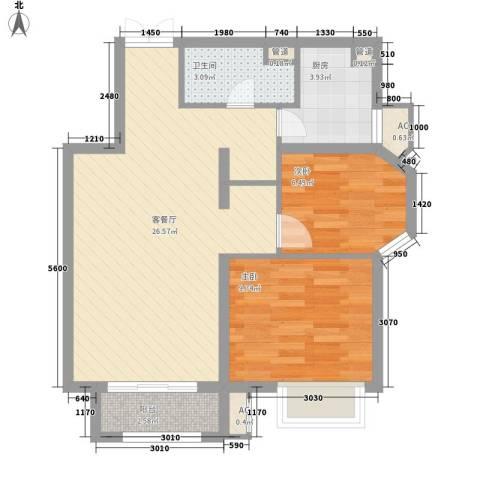 首开・国风美仑2室1厅1卫1厨78.00㎡户型图