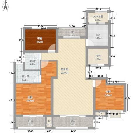观澜盛世3室0厅2卫1厨132.00㎡户型图