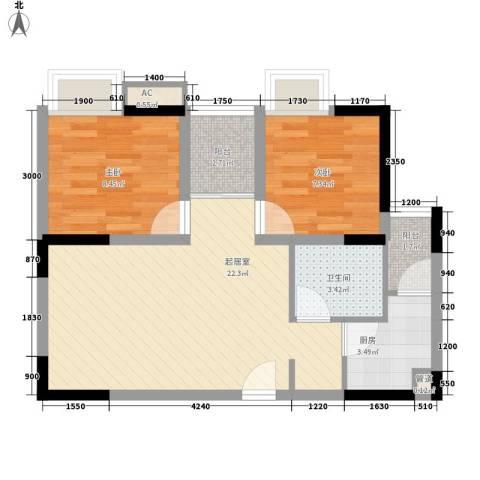 紫薇西城映画2室0厅1卫1厨52.00㎡户型图