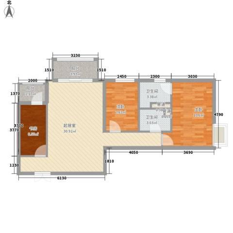 北苑家园锦城3室0厅2卫0厨104.00㎡户型图