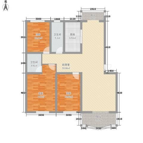 世博家园3室0厅2卫1厨140.00㎡户型图