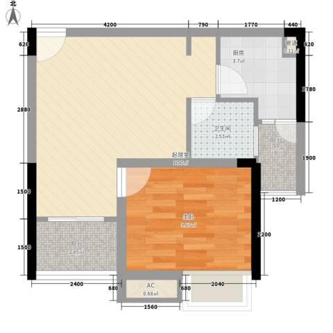 紫薇西城映画1室0厅1卫1厨41.00㎡户型图