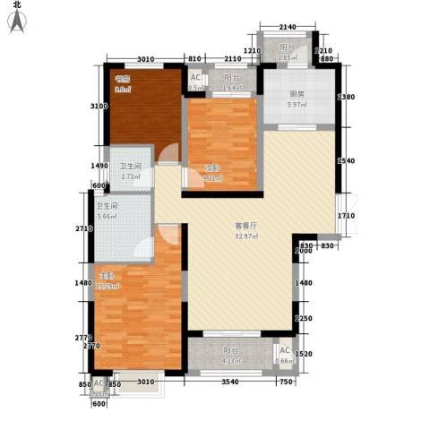 高新华府3室1厅2卫1厨134.00㎡户型图